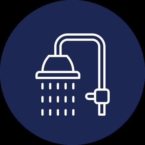 Symbole douche pour avantages récupérateur de chaleur